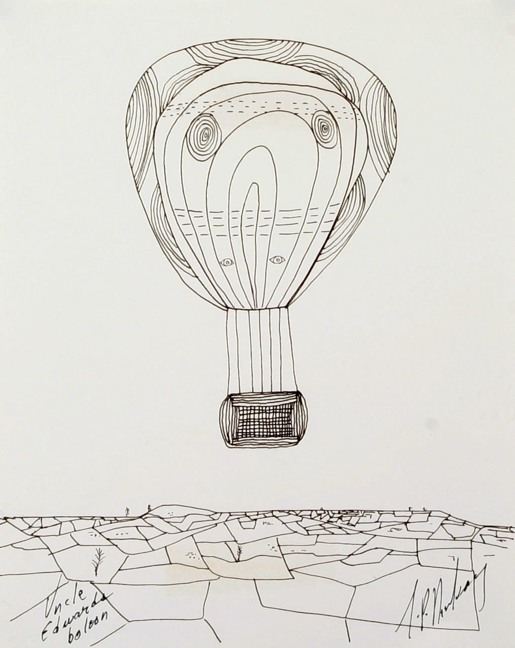 J.P. Donleavy Uncle Edward's baloon Pen & ink 23 x 18 cm