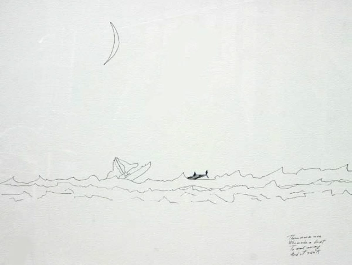 J.P. Donleavy There was a man.... Pen & ink 50 x 76 cm