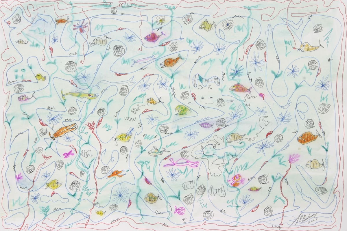 J.P. Donleavy Creatures various of the deep blue sea Watercolour with pen & ink 30 x 40 cm