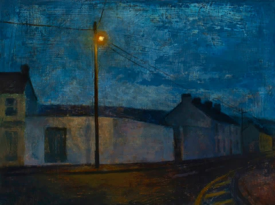Maeve McCarthy Deserting a village Tempera and oil on gesso panel 30 x 40 cm