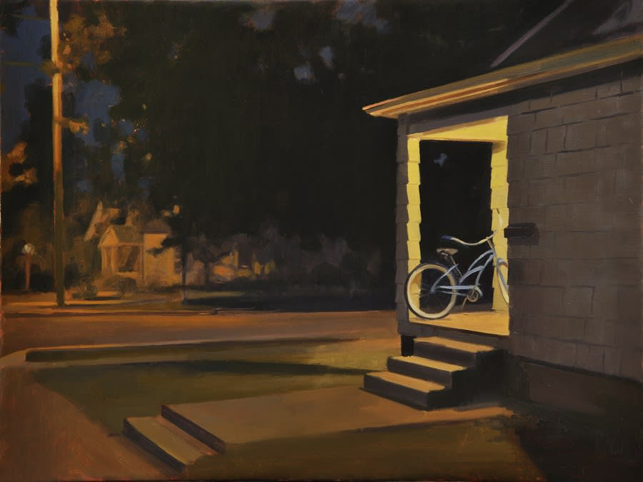 Maeve McCarthy Bike at cornerhouse Oil on canvas 45 x 60 cm