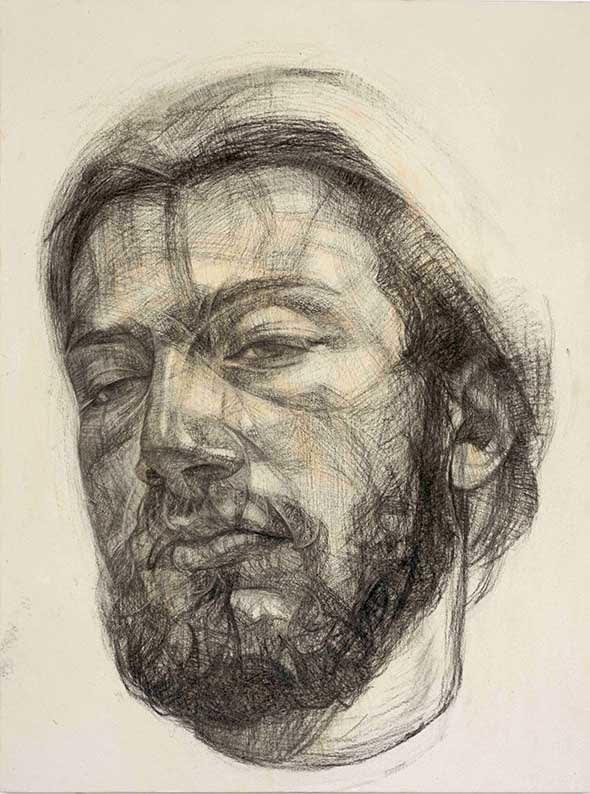 Gareth Reid Feel as good Chalk on canvas 105 x 79 cm