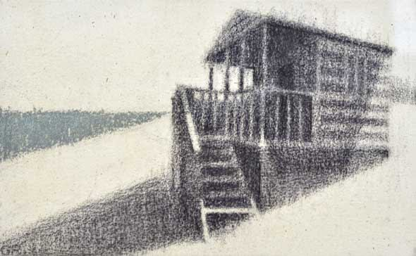 Gareth Reid Hut Charcoal & pastel on canvas 22 x 30 cm