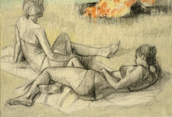 Gareth Reid Two figures by a fire Charcoal & pastel on canvas 46 x 62 cm
