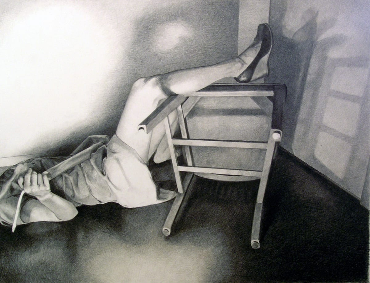 Mercedes Helnwein Accident Black pencil on paper 68 x 91 cm
