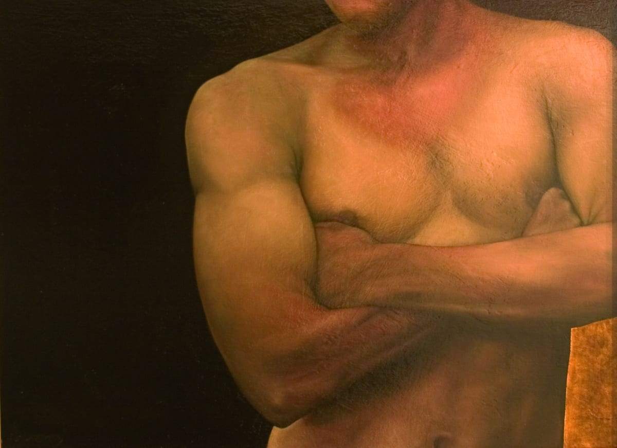 Sheila Pomeroy Man Oil on and gold leaf on panel 72 x 86 cm