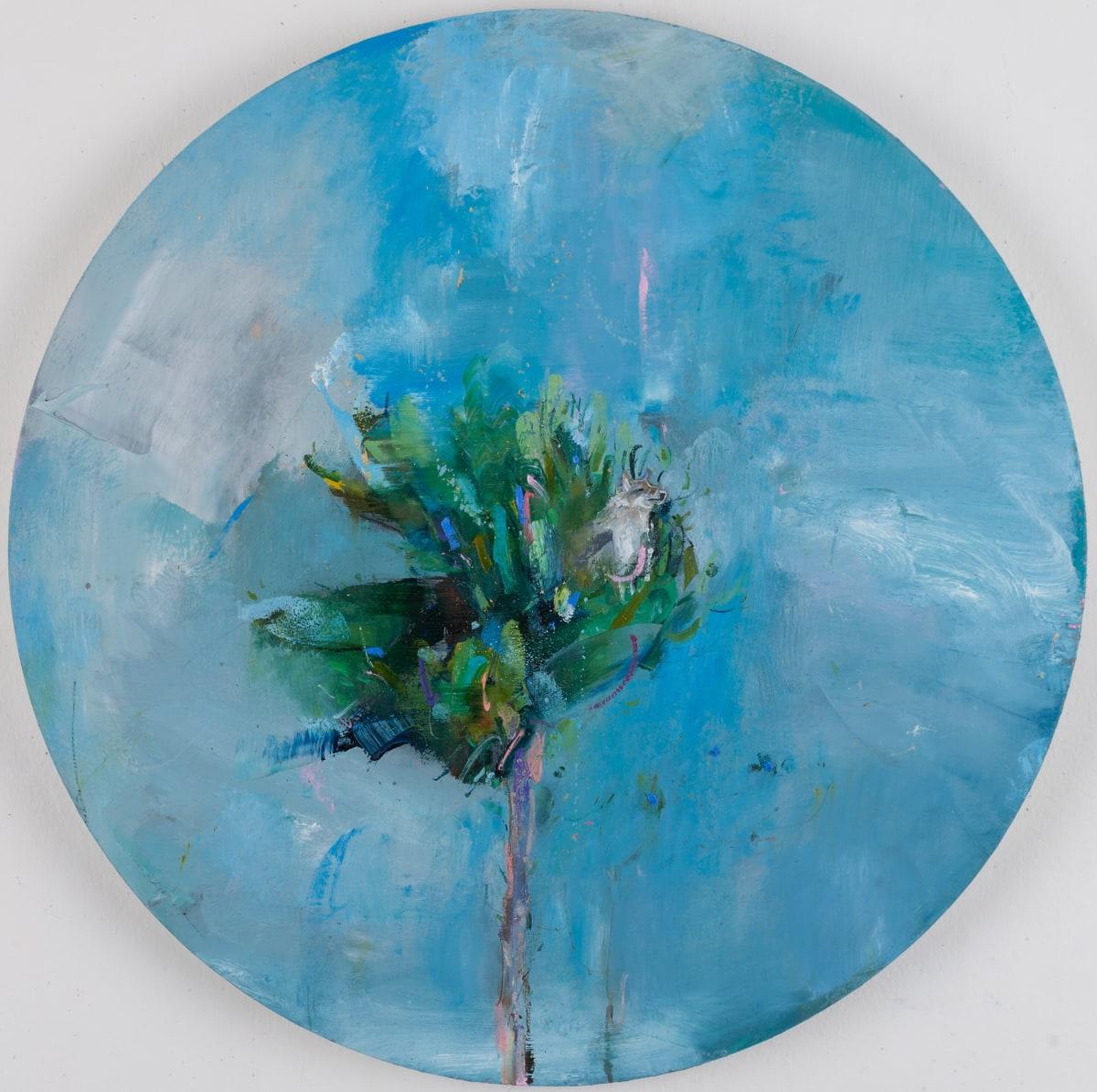 Gabhann Dunne Abelard's wolf Oil on gesso panel 50 cm in diameter