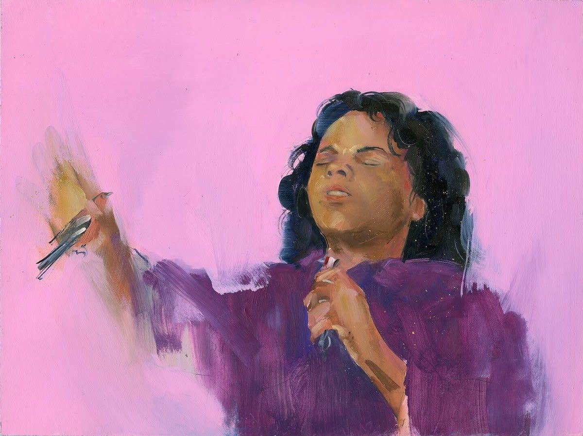 Gabhann Dunne Tremble and preach Oil on gesso panel 18 x 24 cm