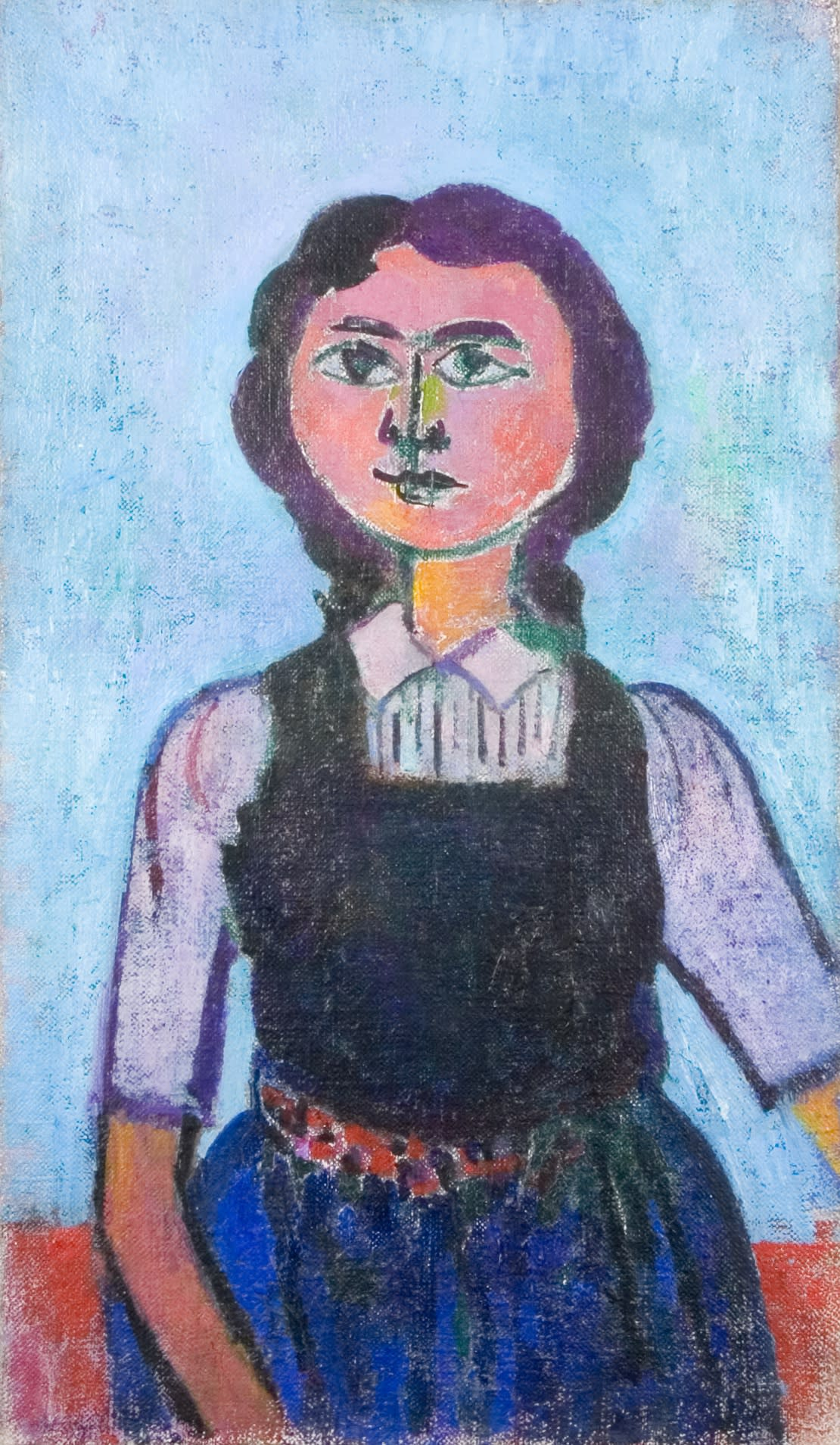 Girl in a pinafore Dated Feb' 1950 verso Oil on canvas 33 3/4 x 19 3/4 inches