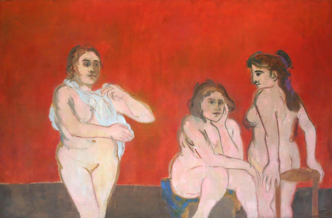 Three nudes on a red ground Signed and dated '53 Oil on canvas 48 1/2 x 75 inches