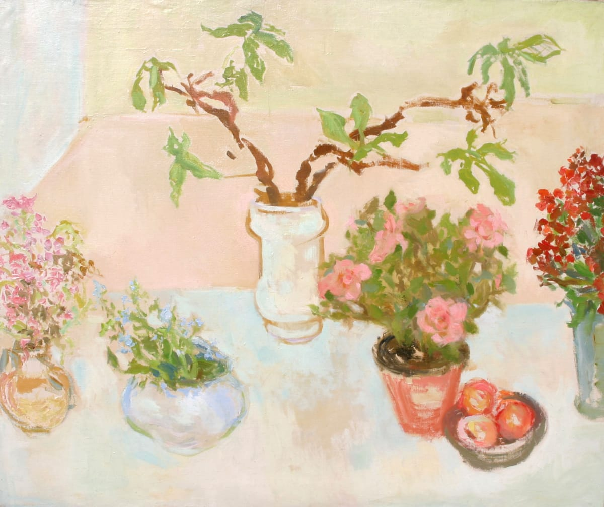Still life with flowers and apples Oil on canvas 29 3/4 x 36 inches