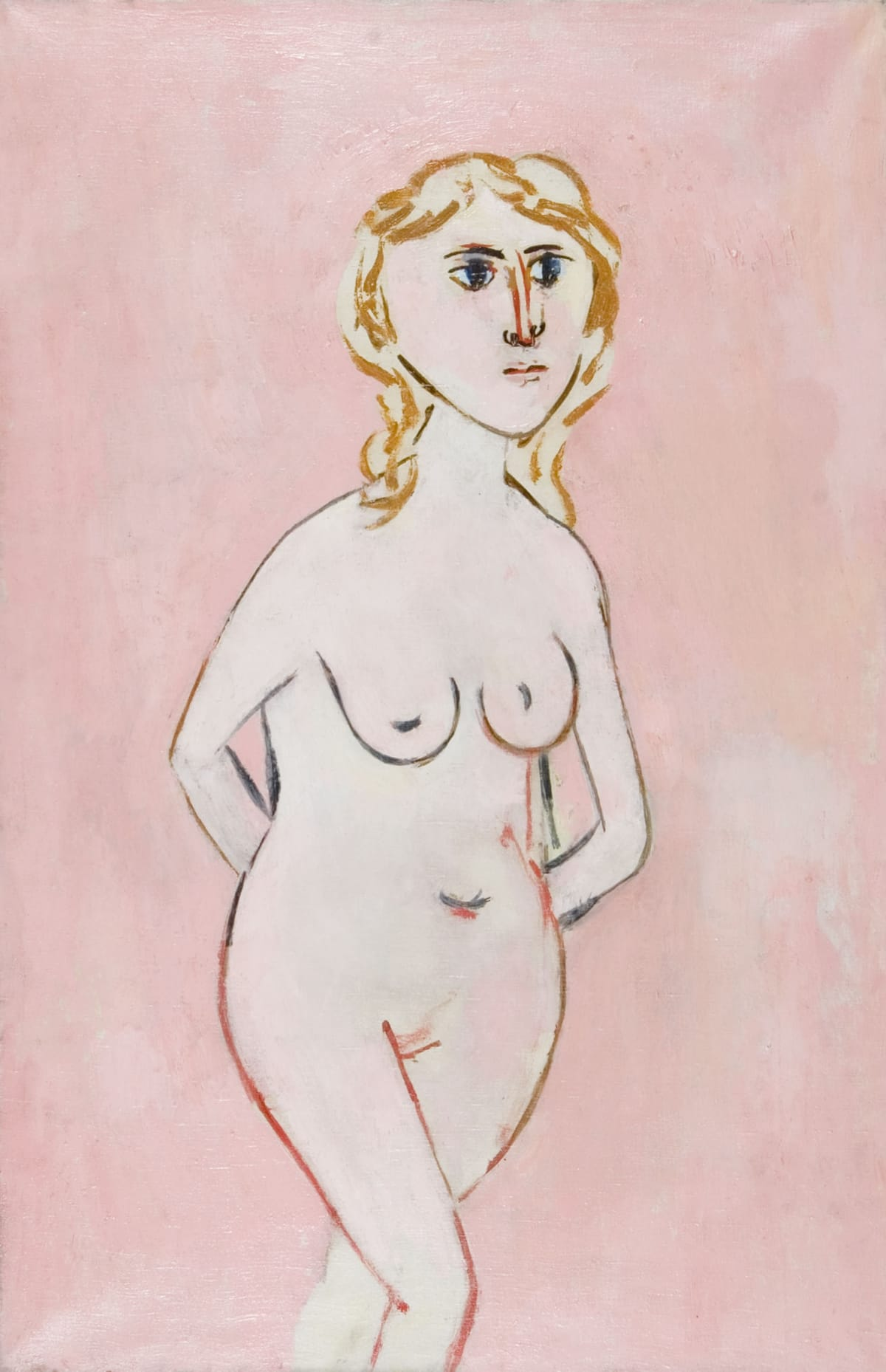 Standing nude on a pink ground Dated Sept' 1951 verso Oil on canvas 36 x 24 inches