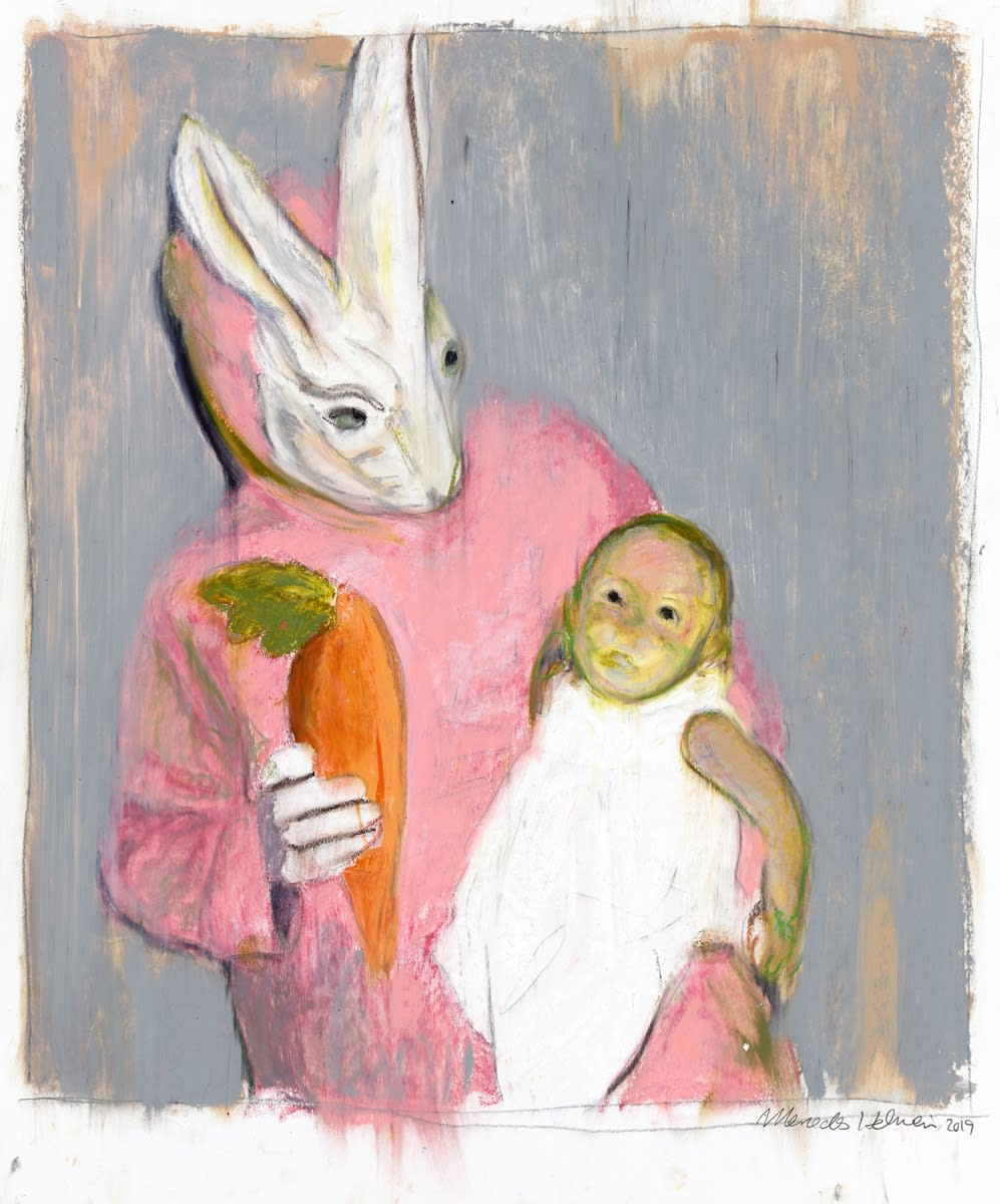 Mercedes Helnwein, Bunny and green baby, 2019