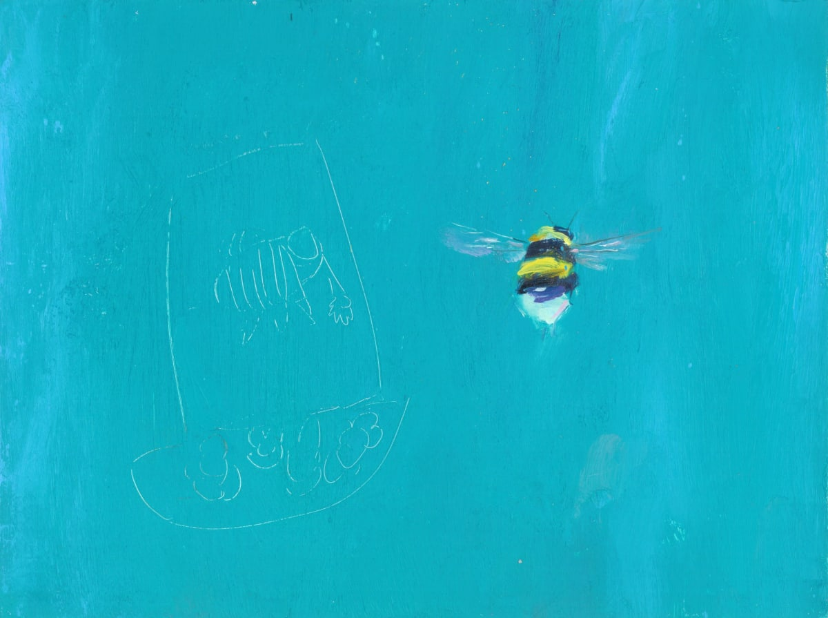 Gabhann Dunne Morrigan's bee Oil on gesso panel 15 x 20 cm