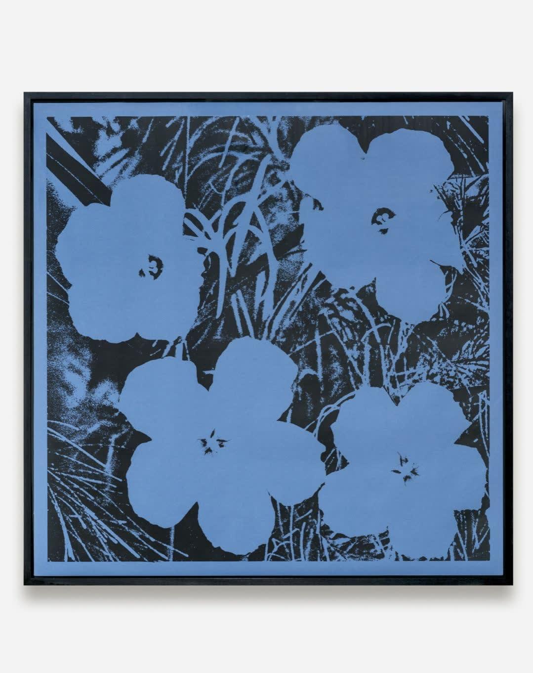 STURTEVANT Elaine Warhol Flowers (black ink blue paper), 1990