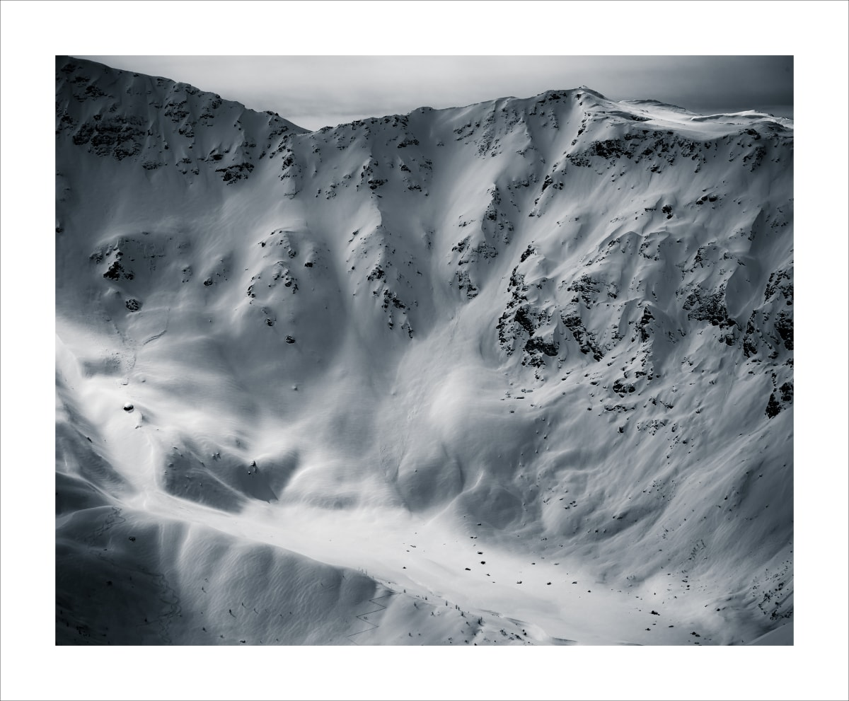 'Cold Quarry' From the edition 'SNOW TONE' French Alps, 2019. Archival print of Platinum Etching Fine Art Paper. Image size: Height 24 inches, Width 30 inches.