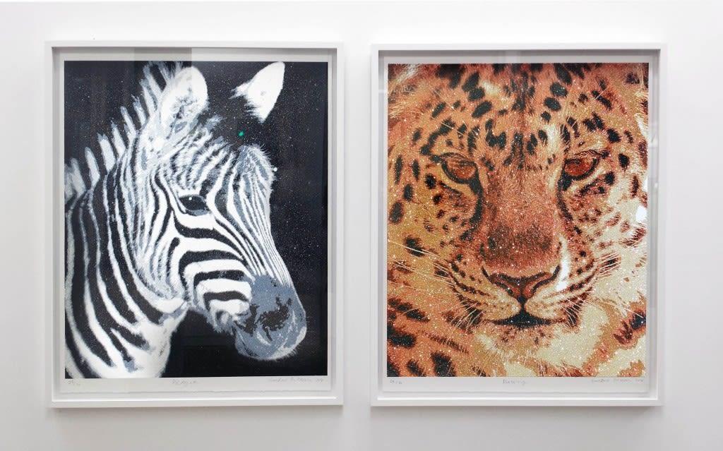 Left: Prayer, 25/30 965 x 765 mm Glitter screenprint $2,800 unframed Right: Blessing, 24/30 965 x 765 mm Glitter screenprint $2,800 unframed
