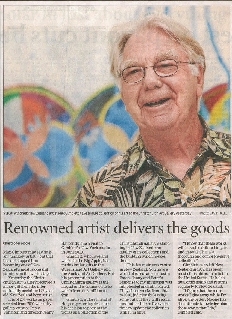 Max Gimblett Features in The Press