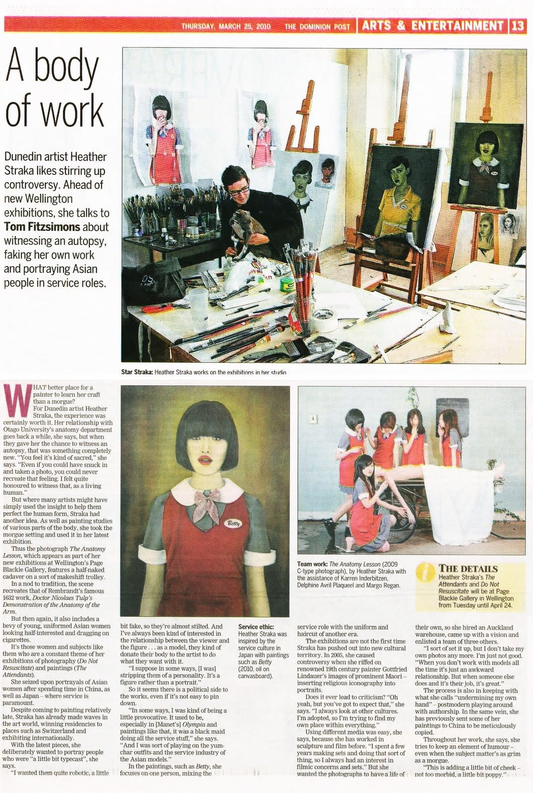 Today's feature in the Arts section of the Dom Post