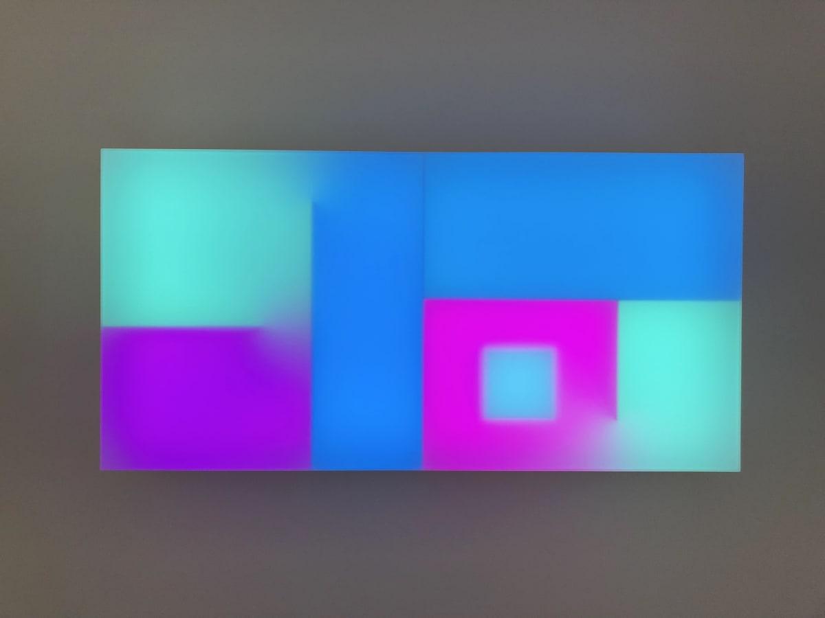 Brian Eno Chord Tritone, 2017 Light box: LED lights, perspex, wood, unique music composition on usb stick 65 x 130 x 19 cm