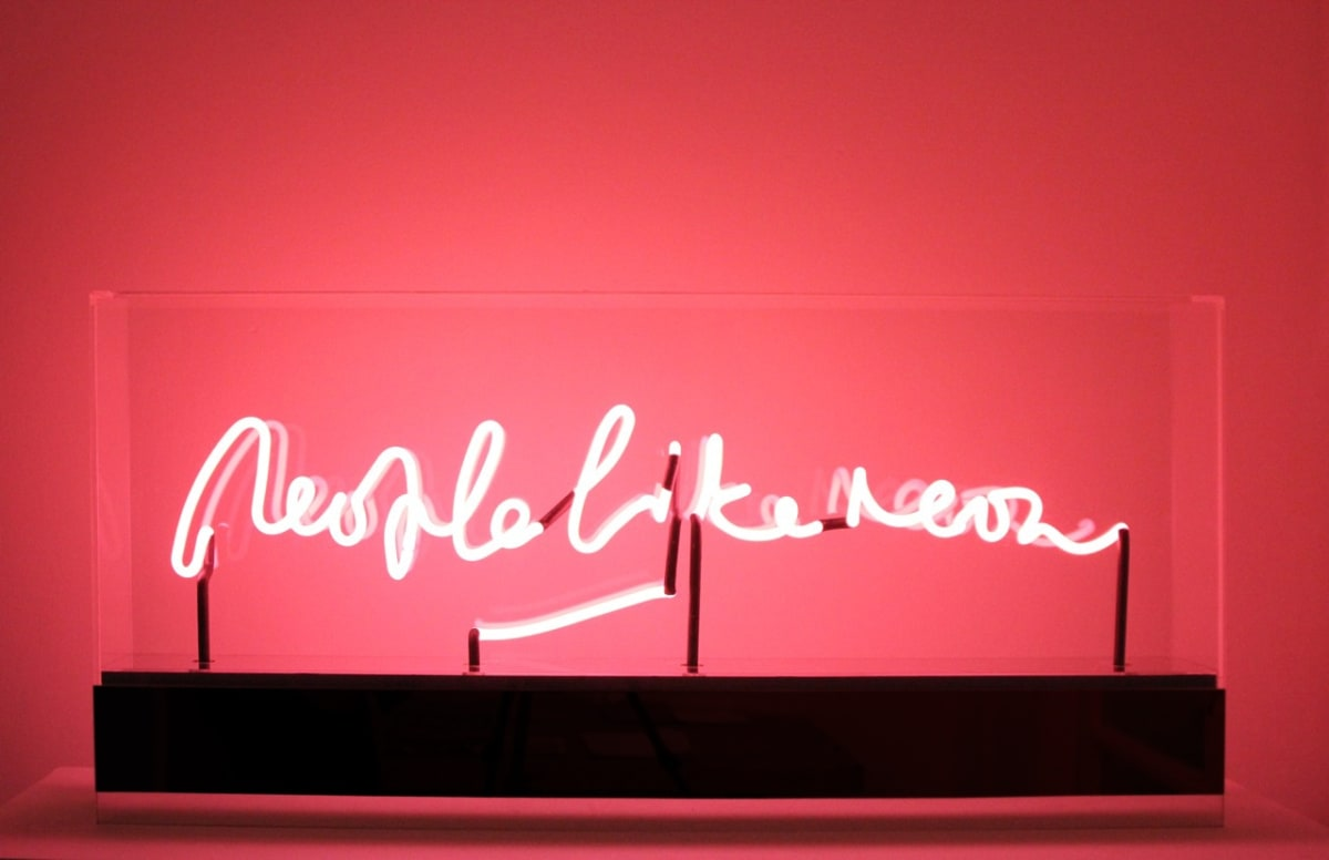 Peter Saville People Like Neon (fluorescent rose), 2012 Neon, perspex display case. Unique in this colour. 46.5 x 100 x 13 cm