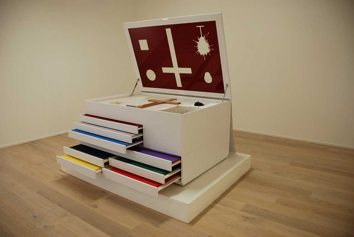 """DAMIEN HIRST New Religion New Religion Leather, mdf, glass, silk and gold blocking Edition of 13 79 x 110 x 160 cm 2005 , Arial, sans-serif; line-height: normal;"""">"""
