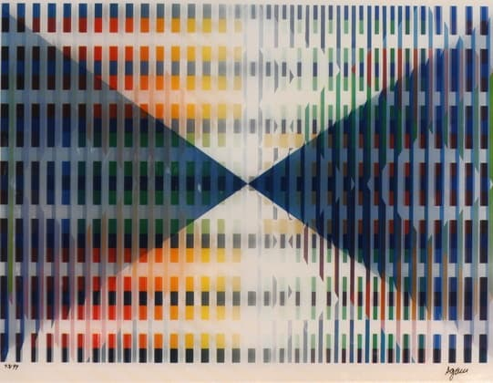 "LENTICULAR SHOW ARTISTS Yaacov Agam Composition Triangulaire Original kinetic 'agamograph' (colour screenprint on paper and special multi-directional perspex) Edition 43/99 Signed in ink 30.5 x 40.7 cm c.1975 , Arial, sans-serif; line-height: normal;"">"