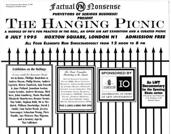 FACTUAL NONSENSE Hanging Picnic Invitation 21 x 13 cm folded 1995