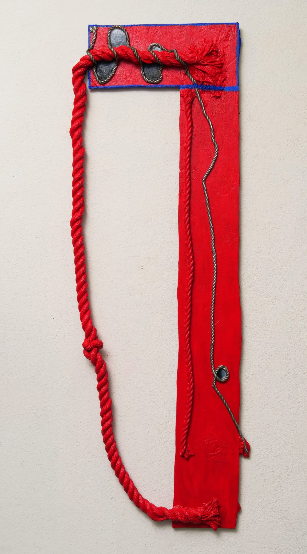 Katy Cowan and rope and wood and stream, 2019