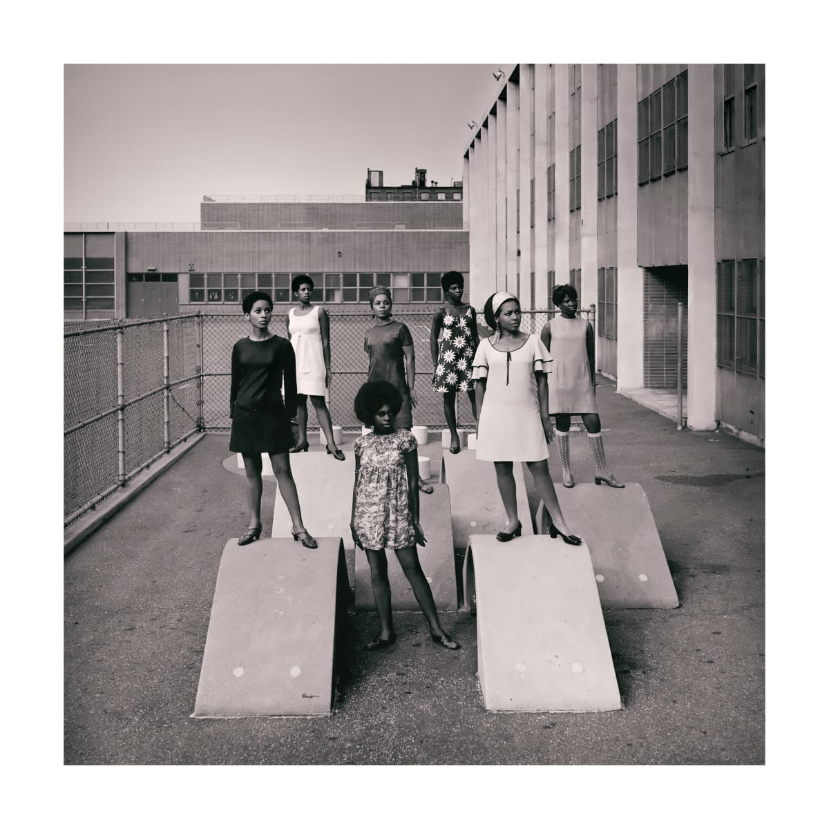 Kwame Brathwaite, Untitled (Photo shoot at a school for one of the many modeling groups who had begun to embrace natural hairstyles in the 1960s), 1966 c. printed 2018