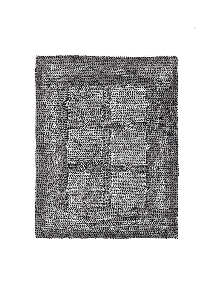 Black Capitone, 2019, ink on paper, 20,5 x 19,5 cm