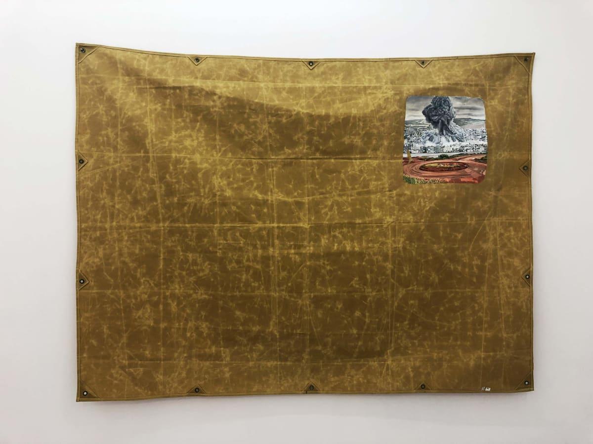 Ana Cvorovic Waking screen 2019 oil paint on waxed canvas tarpaulin 235x182cm