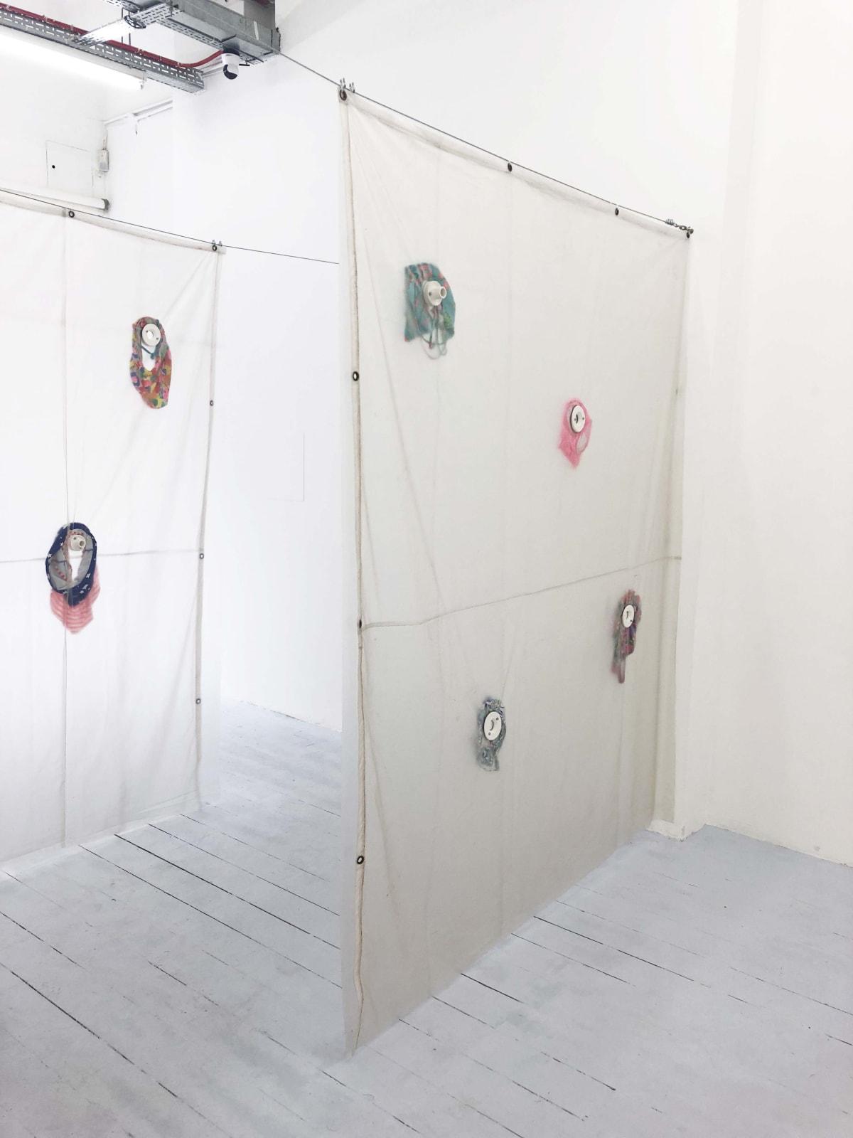 Dream screen I and II 2019 PVC tarpaulin, plaster, child swimsuits 190x225x10cm