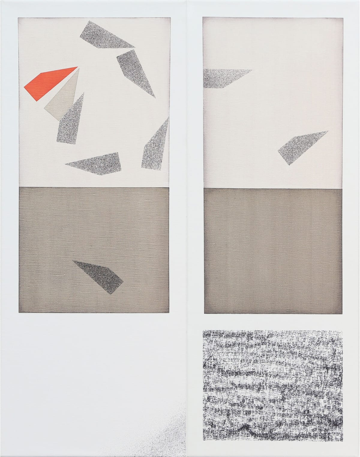 Selma Parlour 2019 Wedges, oil and ink from an industrial coding machine on linen, diptych, 51 x 20 cm (each panel)