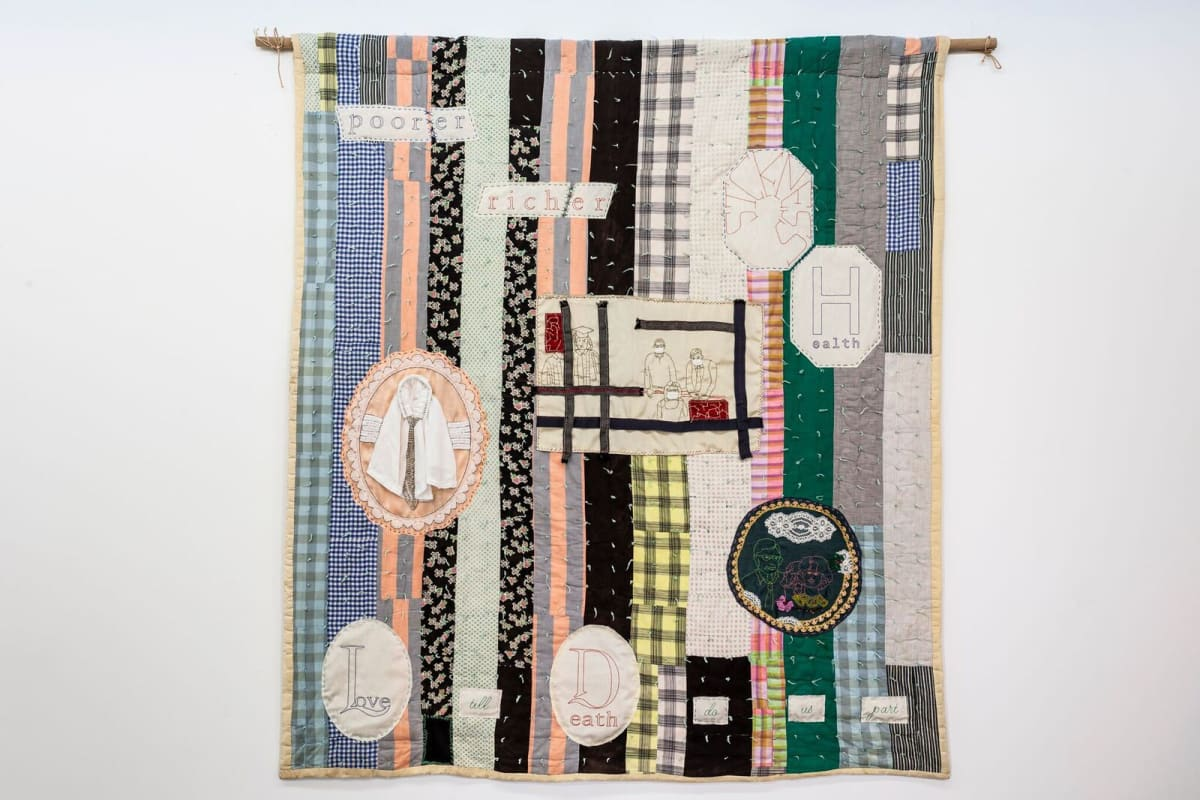 """Challenging Cliché 3'"""" (Quilt with Wedding Vows), 187 x 173, American patchwork quilt (made in 1940 by Myrtle Rector and Mary Payne -the artist's grandmother and great aunt as a wedding gift for her parents), pictorial patches(made from family snapshots and words from wedding vows made bythe artist), cloth, lace,fake jewelsand needlework."""