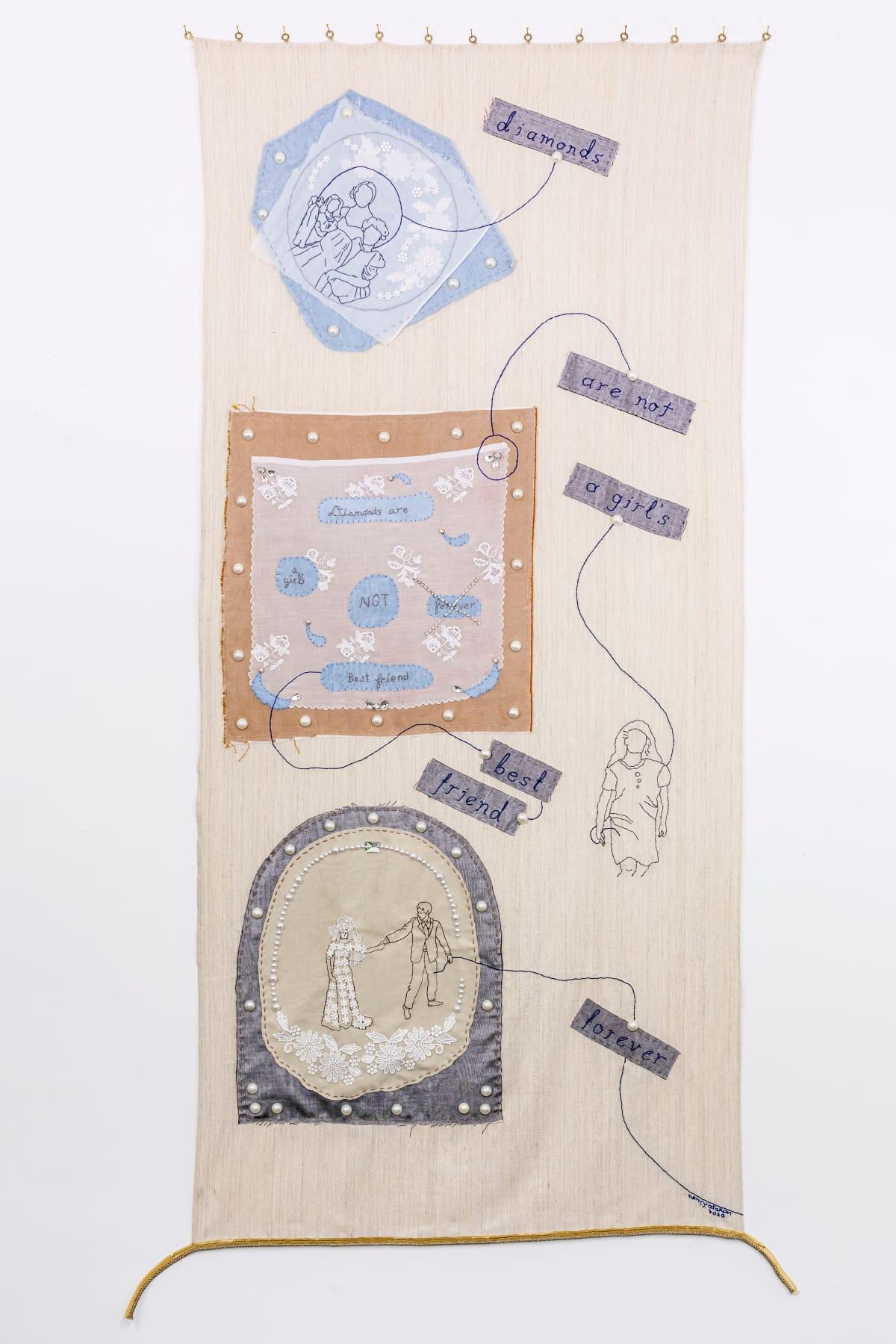 Challenging Cliché 1 (Diamonds), 92 x 202 cm, cloth, needlework, fake jewels lace