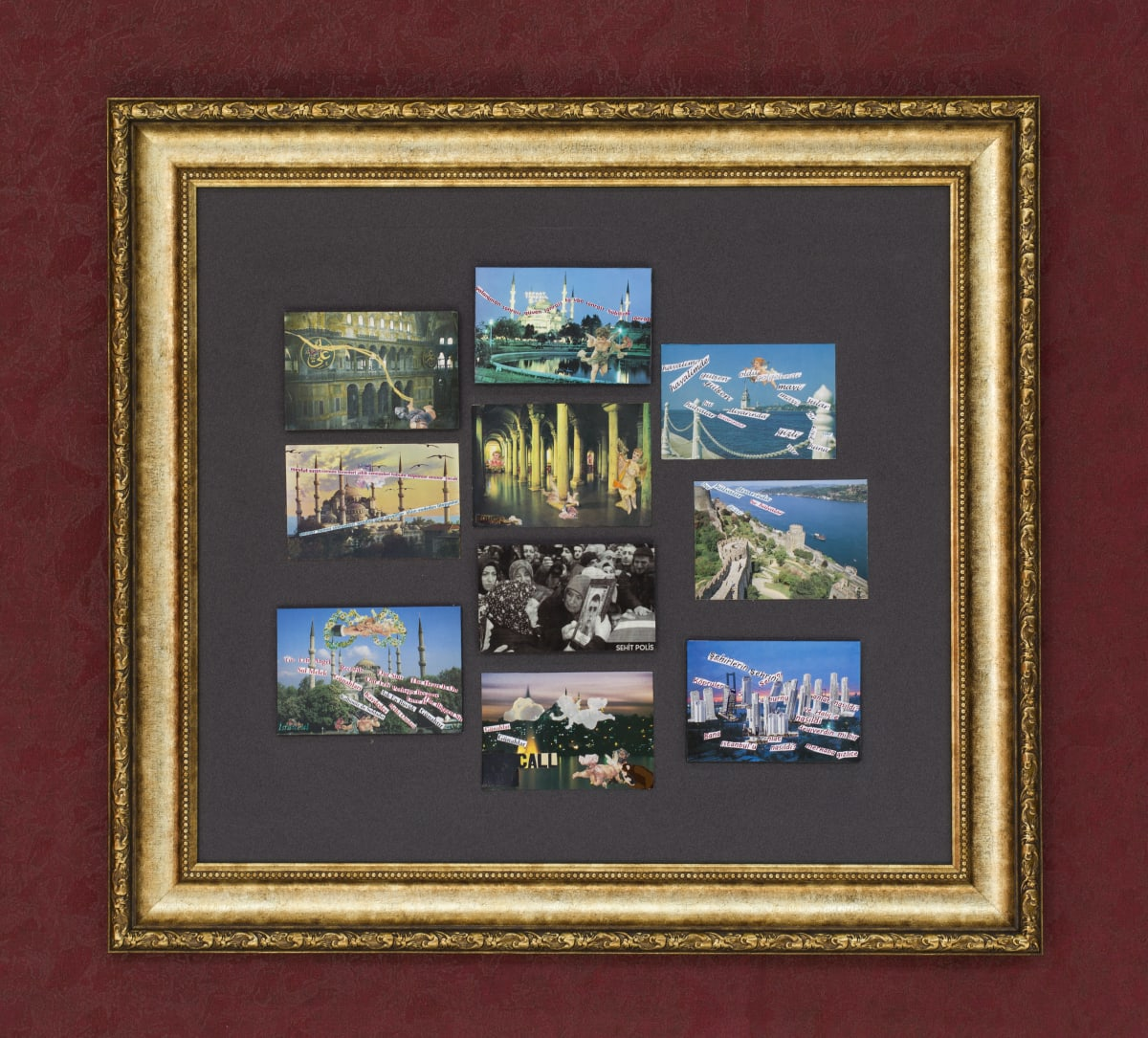 İstanbul 1 2020 postcards and mixed media 83 x 76 cm