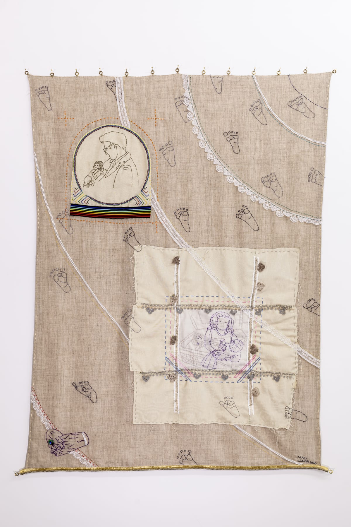 Challenging Cliché 2 (Family Memories), 102 x 143 cm, cloth, needlework, lace