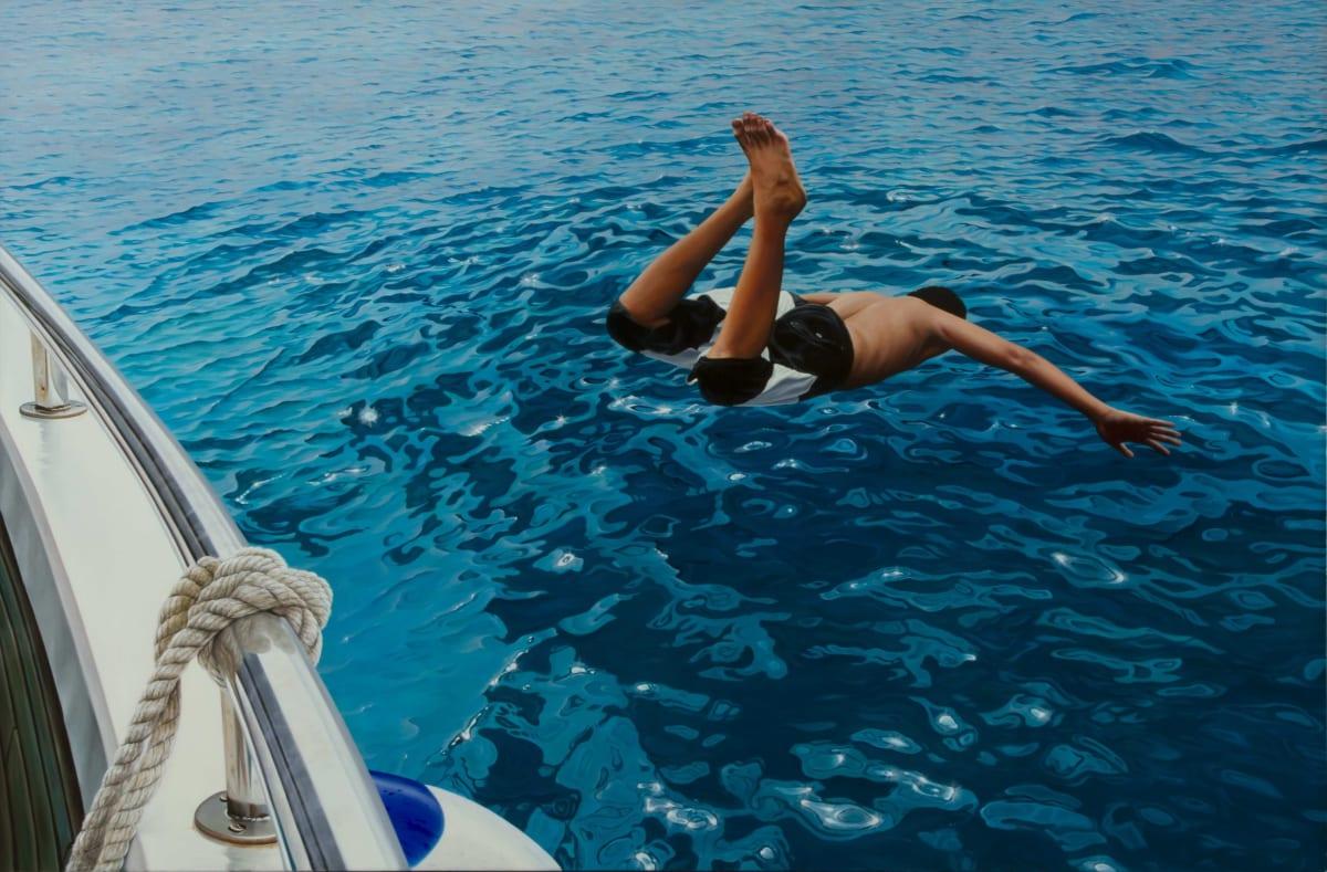 "Gustavo Fernandes ""First Dive"" Oil on canvas 100 x 150 cm"