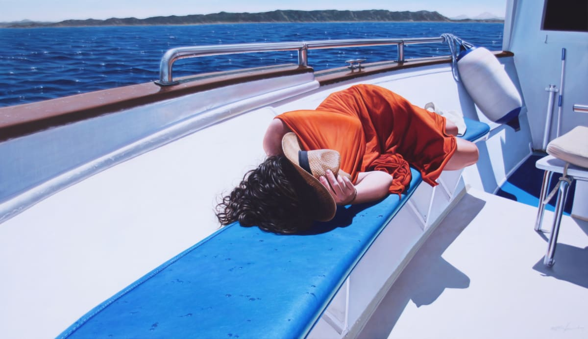 """Gustavo Fernandes """"Woman in a Boat"""" Oil on canvas 75 x 100 cm"""