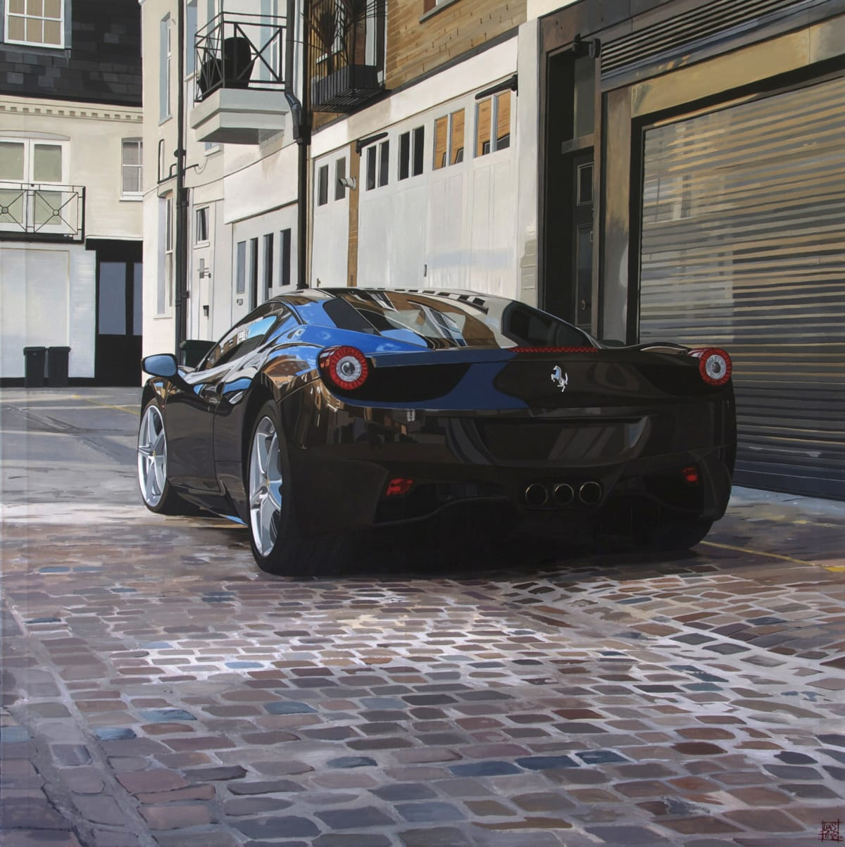 """Queens Gate Place Mews/Ferrari 458"" Acrylic on Canvas 130 x 130 cm"