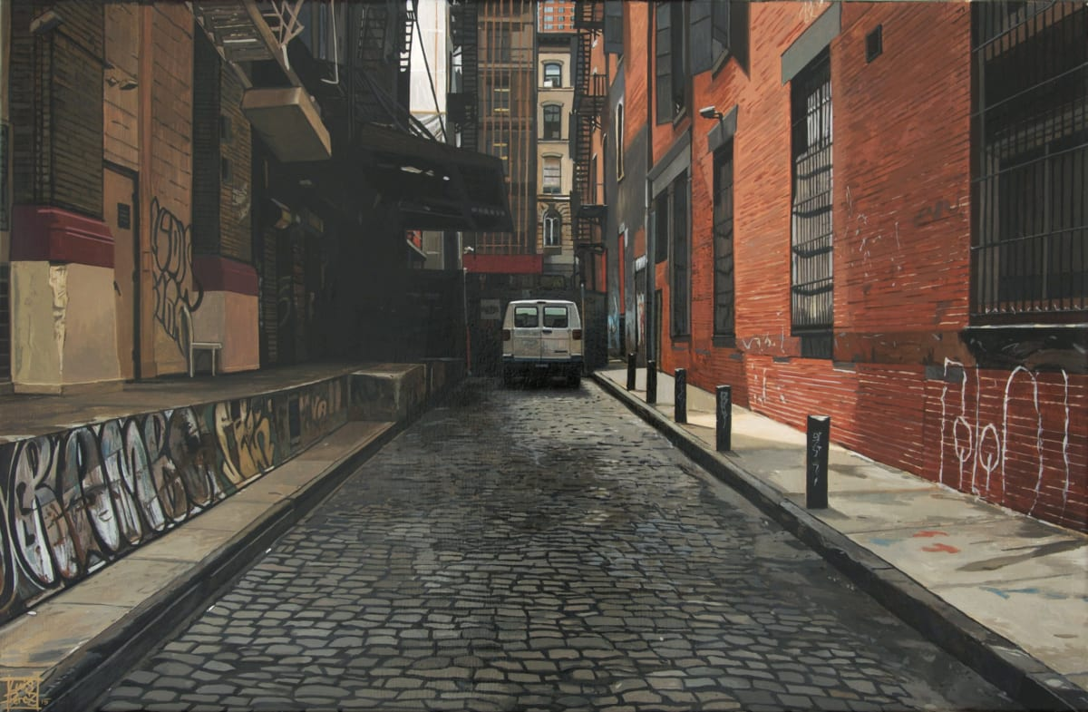 """Alley/Van"" Acrylic on Canvas 30 x 46 cm"