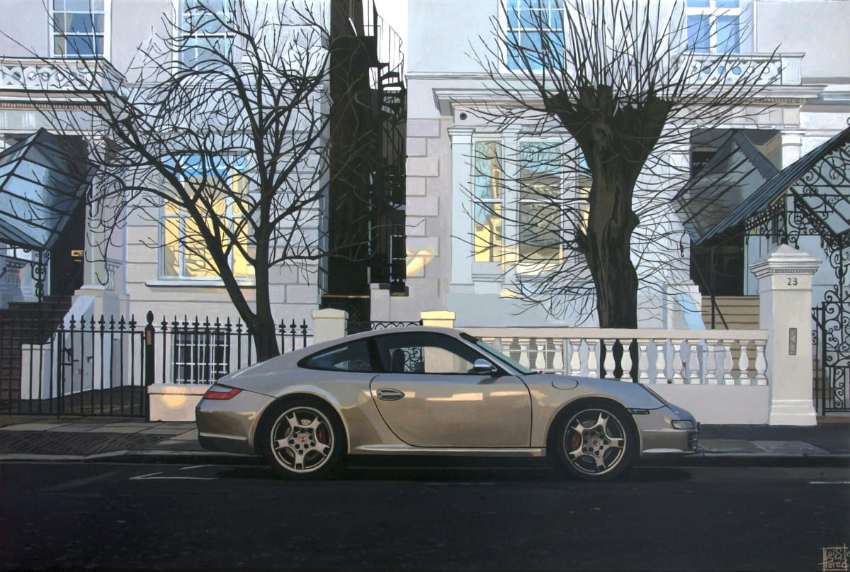 """Dawson Place/ Porsche 911"" Acrylic on canvas 30 x 46 cm"