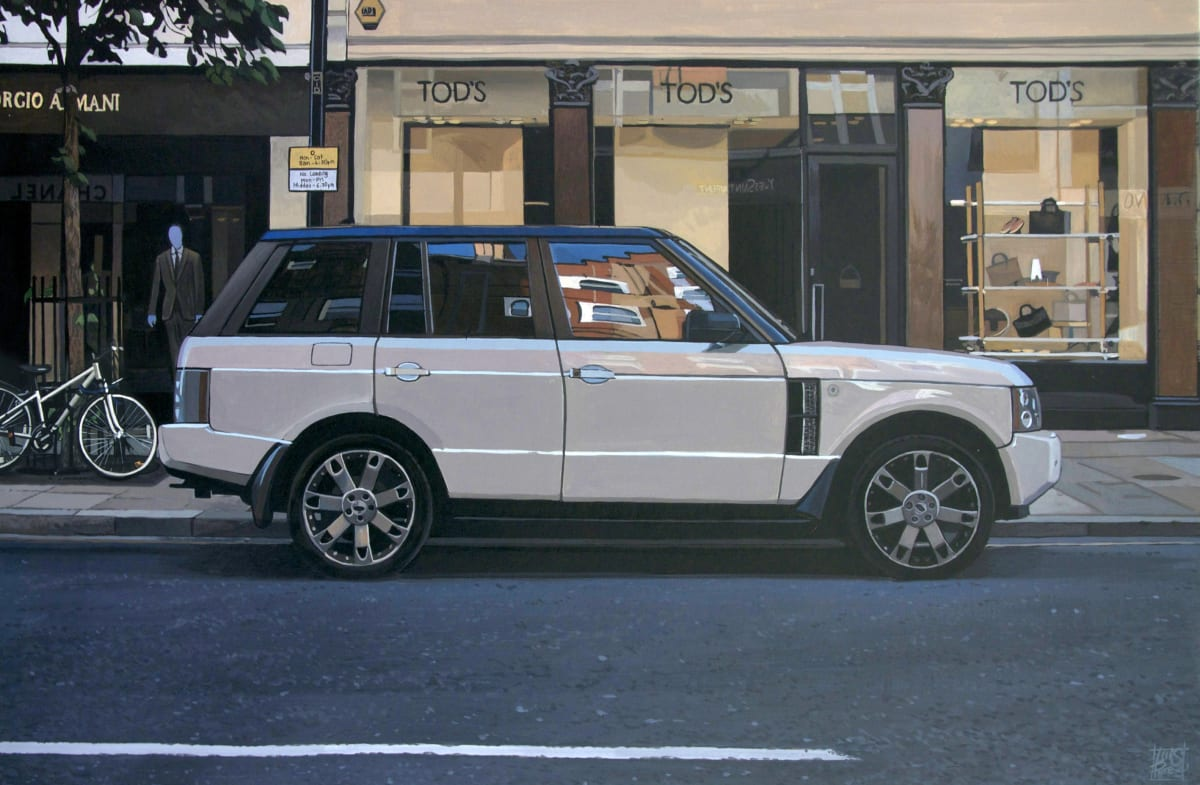 """Sloane Avenue/ Range Rover"" Acrylic on canvas 30 x 46 cm"