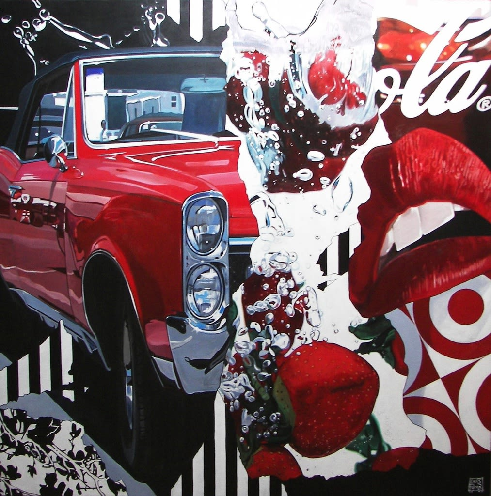 """Strawberry Pontiac"" Acrylic on canvas 90 x 90 cm"
