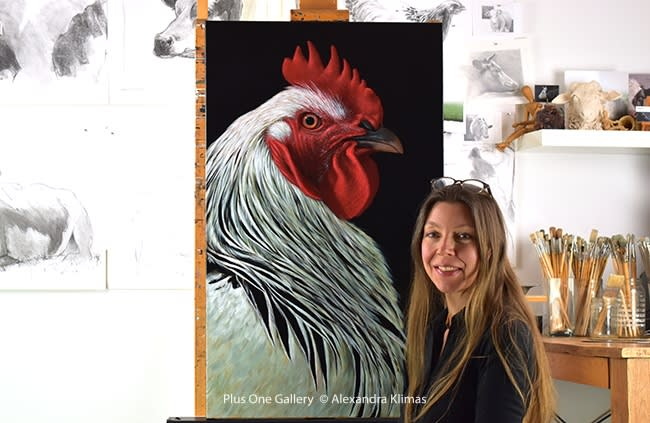 Web Charlie The Rooster Iii 100X60Cm Oil On Canvas Alexandra Klimas Atelier