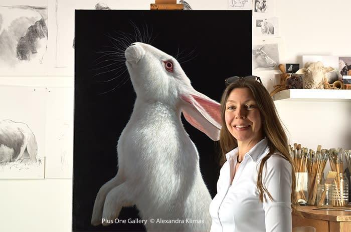 Web Konijn Snowy I 100X80Cm Oil On Canvas Alexandra Klimas Atelier
