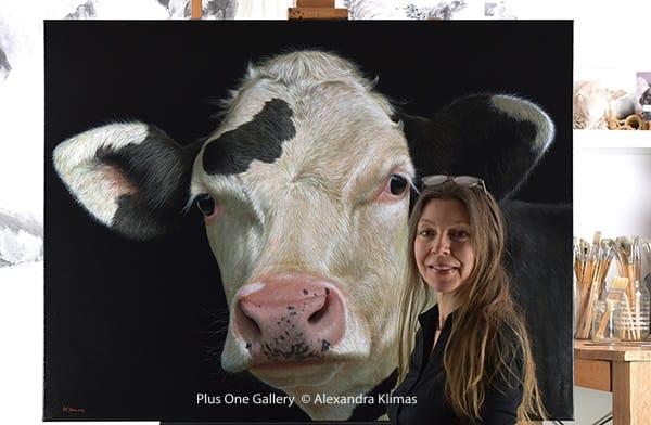 Web Rosie The Calf 100X130Cm Oil On Canvas Alexandra Klimas Atelier