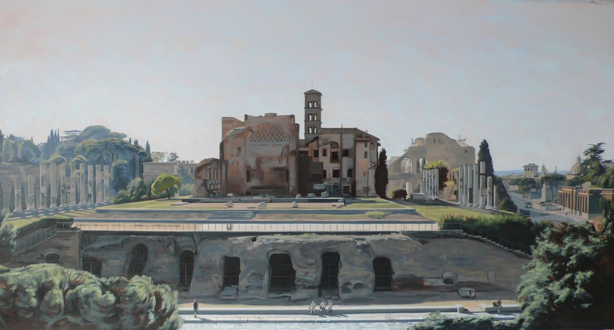 ETHEREAL LANDSCAPE I (ROME) Oil on paper 21.6 x 46 cm