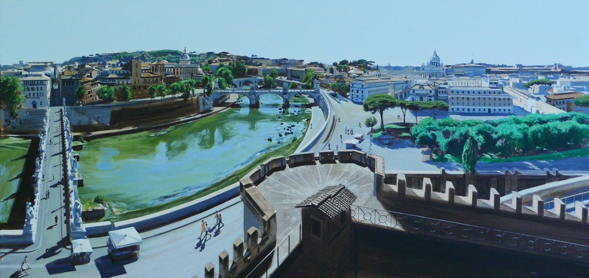 TIBERIS QUO VARDIS (VIEW FROM CASTEL ST ANGELO OVERLOOKING THE RIVER TIBER ROME) Acrylic on paper 25 x 56 cm